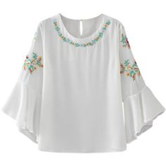 Flare Sleeve Embroidered Chiffon Blouse White