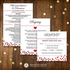 Printable Weddings Pocket Set - Red Confetti Wedding Cards Template - Custom - Directions / Accomodations Card - Registry Card - Rsvp Card