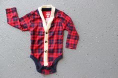 Baby Cardigan Onesie -Navy Red Plaid - Perfect for a Fall or Winter Baby Shower Gift.
