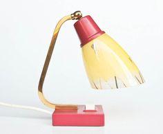 60's Table Lamp / Vintage Desk Lamp / Bedside Lamp / Mid Century Atomic Space Age Era Lighting / Violet & Yellow