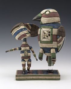 "Calvin Ma, ""Reassurance,"" ceramic, glaze, stain, acrylic, 10x8x4 in - Sherrie Gallerie"