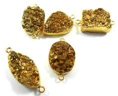 20.45Gm Hot sale 5 Pcs lot Coated Golden Druzy Brass stunning connectors jewelry #MagicalCollection #Connectors