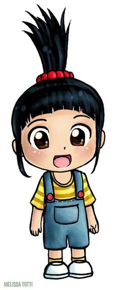 Chibi style Agnes from Despicable Me Kawaii Girl Drawings, Cute Disney Drawings, Cool Art Drawings, Cartoon Drawings, Cute Disney Wallpaper, Cute Cartoon Wallpapers, Girl Cartoon, Cartoon Art, Chibi