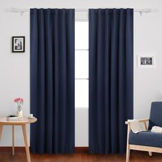 Deconovo Solid Back Tab Curtains Blackout Curtains Thermal Insulated Drapes and Curtains
