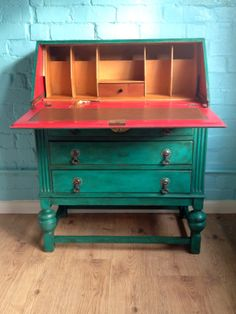 "hesperoo: restyled bureau painted in AS ""Florence"" chalk paint and ""Emperor's Silk"" inside."