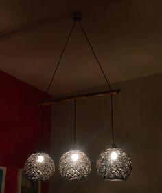 String Chandelier Light Twine Triple by FourSeasonsCreations Rustic Chandelier Lighting, Handmade Chandelier, Chandelier Lamp, Modern Chandelier, Home Lighting, Ball Lights, String Lights, Ceiling Lights, Lamp Shades