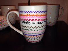 Hand painted Creativity Aztec mug