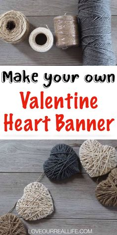 Make this super easy and cute DIY Valentine's Day Banner using your favorite color of string. A perfect Valentine craft to add to your home decor this season! #valentinesday #februaryhomedecor #valentinecraft