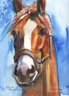 Horse Painting Of California Chrome Go Chrome Painting by Maria's Watercolor