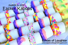 Echoes of Laughter: Sweet & Silly Marshmallow Kabobs for Easter... {if only we could make fun stuff like this for class parties...}