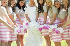 gray and white striped bridesmaid dresses - Google Search