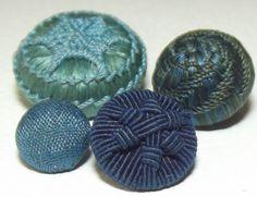 Antique Buttons Silk w/ Needle work patterns Gorgeous Palette