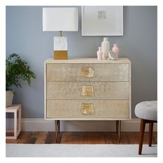 West Elm Roar + Rabbit Jeweled 3-Drawer Dresser ($799) ❤ liked on Polyvore featuring home, furniture, storage & shelves, dressers, three drawer dresser, drawer dresser, west elm furniture, west elm and bunny furniture