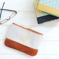 Monogrammed Pencil Pouch, Leather