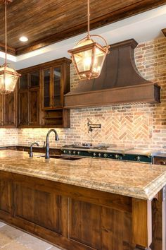 Our handcrafted copper range hoods make a bold statement without being flashy. This antique copper hood reflects the warmth of wooden cabinets. Kitchen Hoods, Cozy Kitchen, Copper Kitchen, Home Decor Kitchen, Kitchen Ideas, Kitchen Designs, Rustic Backsplash Kitchen, Knotty Alder Kitchen, Rustic Kitchen Design
