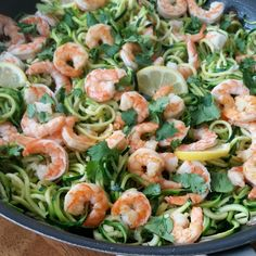 Shrimp Zoodles with Cilantro and Garlic http://cleanfoodcrush.com/shrimp-zoodles