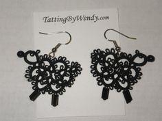 Tatted sheep earrings original design lambs by TattingByWendy