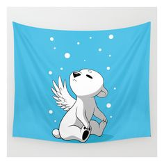 Polar Cub 2 Wall Tapestry ($39) ❤ liked on Polyvore featuring home, children's room, children's decor and wall tapestries