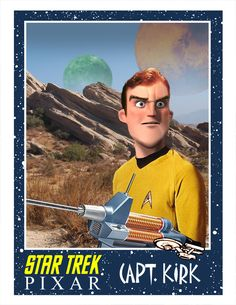 Captain Kirk, Star Trek as done by Pixar. From Minion Factory.