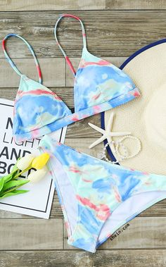 Light Blue Printed Triangle Bikini Set