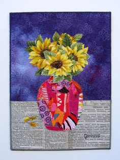 Collage Portrait, Collage Art, Landscape Art Quilts, Fabric Postcards, Flower Quilts, Animal Quilts, Thread Painting, Small Art, Applique Quilts