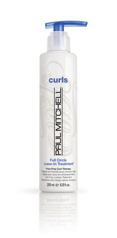 http://curls.paul-mitchell.co.uk/#/product/full-circle  Frizz-Free Curl Therapy  Lightweight conditioning treatment won't weigh hair down.  Do-it-all formula hydrates, detangles and tames frizz.  Replenishes thirsty locks and helps protect against damage
