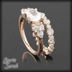 14kt Rose Gold White Sapphire Wedding Ring by LaurieSarahDesigns, $2689.50