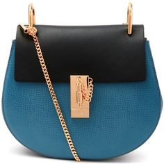 Chloe Small Blue Cross Body Bag (2,340 CAD) ❤ liked on Polyvore featuring bags, handbags, shoulder bags, leather purse, chain strap purse, blue leather shoulder bag, blue leather purse and chloe crossbody