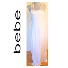 🎉HP🎉 💞 Bundle of Love 💞 💠Priceless Bebe Long Maxi Dress- Size: L. White Goddess Luxurious, silky, jersey dress. Nude criss cross back. Fully lined & extra shelf lining. 💠White bandage Dress. Size: M  (not shown). 💠Hi-Lo Slip Dress w/Embroidery Trim-Size: M. 💠Guess Tan Mini Dress / Tank Top - Size: M. 💠2 Express Cropped Black Leggings-Size: M. 💠Karen Kane Black  Cardigan - One size  💠2 Piece Hematite Tone Rhinestone Bangles.  💠Matching Guess Necklace (not shown). 💠Goody Bag…