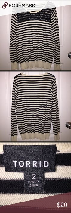Torrid Striped Sweater with Lace Detail Torrid Black and Cream Striped Sweater with Lace Detail. Worn a few times and still in great condition! torrid Sweaters