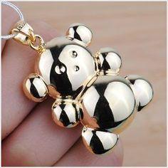 NEW C925 18k Gold Mother Angel Caller Teddy Bear Rattle Harmony Bell Necklace xx on eBid United Kingdom