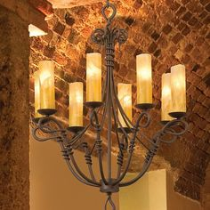 Rustic Chandeliers | Vine Eight Light Wrought Iron Chandelier at Rocky Mountain Cabin Decor