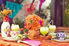 """love what they did with the """"fiesta"""" wedding shower. Mexican Bridal Showers, Delphine Manivet, Spanish Wedding, Mexican Party, Mexican Grill, Dinner Themes, Reception Decorations, Reception Ideas, Table Decorations"""