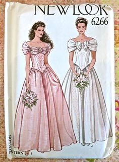 New Look 6266 -Vintage 1980s Womens Wedding Dress Pattern with Off Shoulder Bodice and Full Skirt
