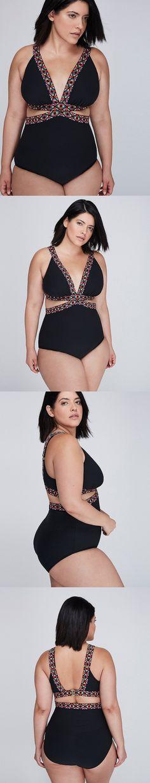 11fb2ef9bc441 Swimwear 63867: Lane Bryant Plus Size Black Textured Deep V Monokini One  Piece Swim Suit New -> BUY IT NOW ONLY: $36 on eBay!