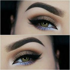 Gold-brown and silver-purple eyeshadow with black eyeliner
