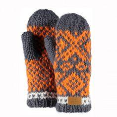Barts Log Cabin Mitts Handschuhe dark grey - handgestrickte Fäustlinge innen mit Fleece gefüttert modisches Norwegermuster Logopatch aus Leder Einheitsgröße