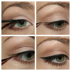 Perfect those cat eyes! Tips: 1. Start with a straight line from your inner eye corner out towards the end. 2. Draw a faint flick up at the far eye corner. 3. Using step 2 as a guide, draw a triangle shape into your lower eye lid. 4 Fill it with a beautifully bold liner! Hints: Do each step-by-step on each eye (one after the other), to get perfectly equal lines :)