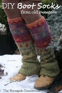 """Or keep warm with some snazzy <a href=""""https://chicenvelopements.wordpress.com/2013/01/26/upcycled-no-sew-leg-warmers-from-an-old-thrift-store-sweater/"""" target=""""_blank"""">boot socks</a>."""