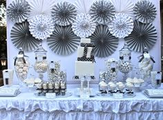 silver & white 25th birthday party celebration & dessert table