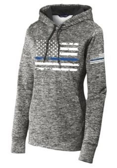 ccf38e1d9b45 Sport-Tek Thin Blue Line Distressed U.S. Flag Women s Heather Grey Pullover  Hoodie