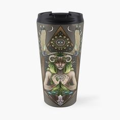 'Invocation of Spring' Travel Mug by MonoMano Beautiful Witch, Notebooks, Travel Mug, Art Nouveau, Cat Lovers, Finding Yourself, Geek Stuff, Mugs, Spring