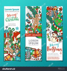 Vector set of Christmas banners. Three vertical templates for your design. Christmas tree and baubles, gifts, snowman, deer, Santa hat, holly berries, candy canes, gingerbread man and swirls.