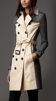 Burberry London Long Tweed Panel Trench Coat