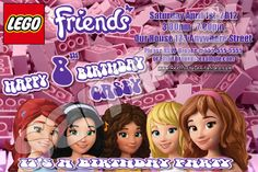 LEGO FRIENDS 4X6 INVITATION WITH ENVELOPES