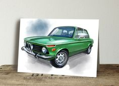 Get your Cool Cards today! Green Jeep, Cards For Boyfriend, Bmw 2002, Garage Art, Classic Sports Cars, Great Paintings, Automotive Art, Custom Cards, Beach House Decor