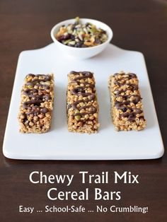 Super-Friendly Trail Mix Cereal Bars - Easy, Crispy, Chewy, Sweet, and Safe! Perfect for sharing as they're top allergen-free, gluten-free, loved by kids and adults, and vegan optional.: