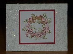 Rubber stamp tapestry - Bella's Bouquet  Paper: whisper white, real read  Ink: real red, old olive  Accessories: SU embossing folder, glitter