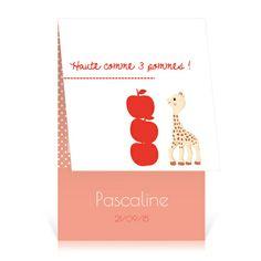 Faire-part naissance Sophie la girafe Haut comme 3 pommes - Cardissime - Trois petites pommes pour annoncer la naissance de votre bébé.