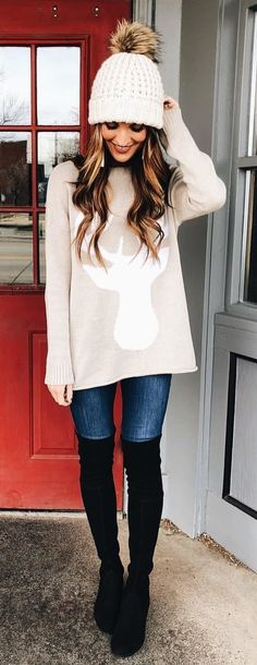 #winter #outfits white bobble hat; gray long sleeves shirt;